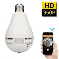 360 Degree Hidden Fish Eye Camera with WiFi and LED Bulb